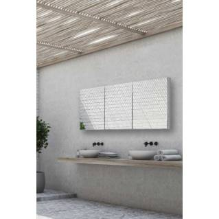 HIB Eris 120 Aluminium Bathroom Cabinet with Mirror Sides 1200 x 700mm