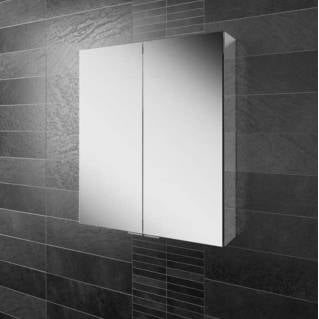 HIB Eris 60 Aluminium Bathroom Cabinet with Mirror Sides 600 x 700mm