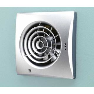 HIB Hush Matt Silver Wall Mounted Fan with Timer