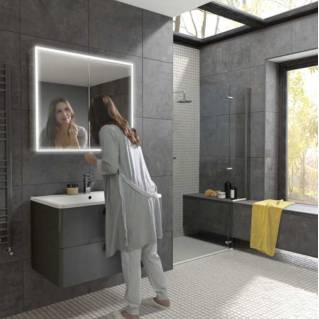 HIB Qubic 80 LED Aluminium Bathroom Cabinet 800 x 700mm