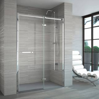 Merlyn 8 Series Frameless Hinge Inline Recess Shower Door with Tray 1400mm