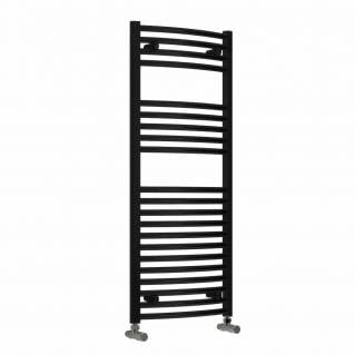 Reina Diva Thermostatic Electric Curved Heated Towel Rail 1200 x 600mm Black