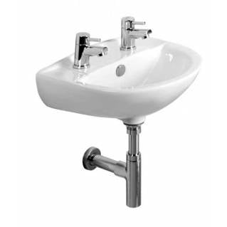 Tavistock Micra 450mm 2t/h Ceramic Basin Wall Hung with Bottle Trap