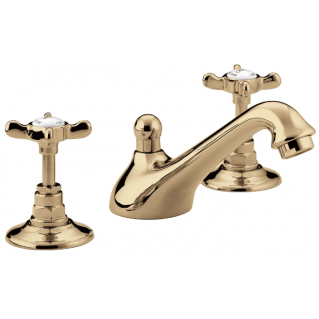 Bristan 1901 Three Hole Basin Mixer with Pop Up Waste Gold