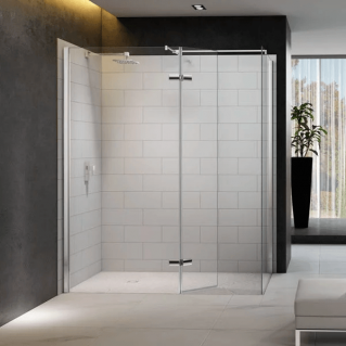 Merlyn 8 Series Walk In Enclosure with Hinged Swivel Panel & End panel 1200 x 800mm
