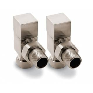 Reina Loge Angled Radiator Valves Brushed