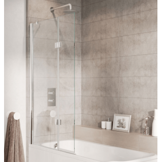 Roman Lumin8 8mm Hinged Outward Opening Bath Screen 910mm Left Hand