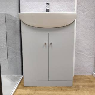 Ikoma Pearl Grey Matt Vanity Unit with Basin 550mm