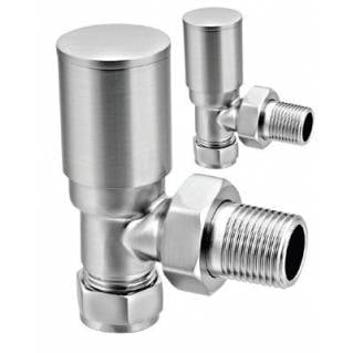 Reina Portland Angled Radiator Valves Brushed