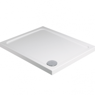 Roman Acrylic Capped Stone 40mm Low Profile 760mm Square Shower Tray with Waste