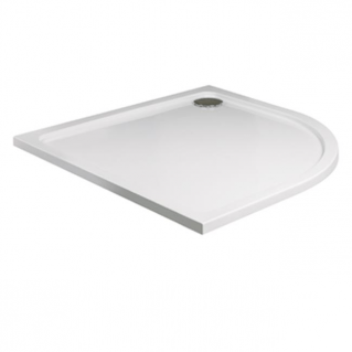 Roman Acrylic Capped Stone 40mm Low Profile 900 x 800mm Left Hand Offset Quadrant Shower Tray with Waste