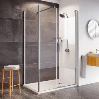 Roman Innov8 Pivot Shower Door with In-Line Panel Corner Fitting 1000 x 800mm
