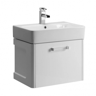 Tavistock Q60 570mm Wall Mounted Vanity Unit & Basin Gloss White