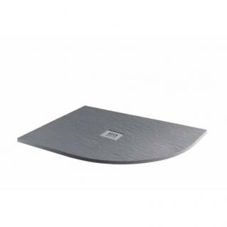 MX Minerals Offset Quadrant Ash Grey Right hand Shower Tray 1200 x 800mm