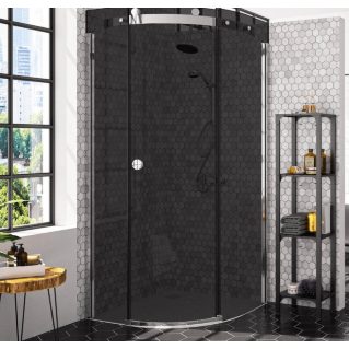 Merlyn 10 Series 1 Door Quadrant Shower Enclosure Smoked Black Glass Left Hand 900 x 900mm