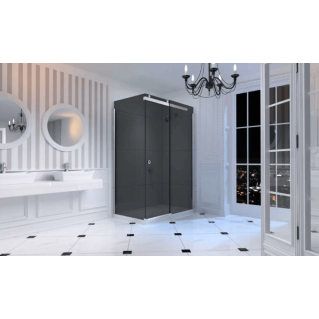 Merlyn 10 Series Sliding Shower Door 1200mm Left Hand Smoked Black Glass
