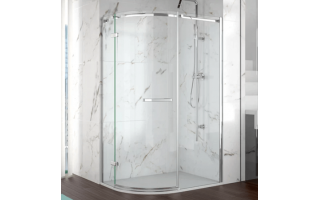 Merlyn 8 Series 1 Door Offset Quadrant Frameless Enclosure Left Hand 900 x 760mm with Tray