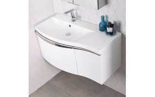 Roper Rhodes Serif 900mm Left Hand Wall Mounted Unit with Basin Gloss White