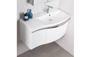 Roper Rhodes Serif 900mm Right Hand Wall Mounted Unit with Basin Gloss White