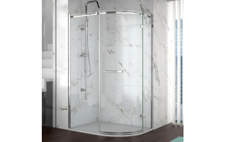 Merlyn 8 Series 1 Door Offset Quadrant Frameless Enclosure Right Hand 900 x 760mm with Tray