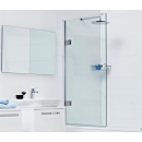 Roman Decem 10mm Hinged Bath Screen with Square Hardware 830mm