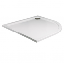 Roman Acrylic Capped Stone 40mm Low Profile 900 x 760mm Left Hand Offset Quadrant Shower Tray with Waste