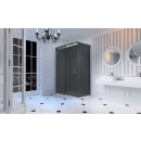 Merlyn 10 Series Sliding Shower Door with Tray 1400mm Right Hand Smoked Black Glass