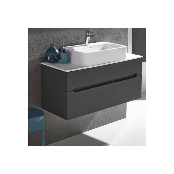 Roper Rhodes Diverge 800mm Wall Mounted Unit with Ceramic Basin Charcoal Elm