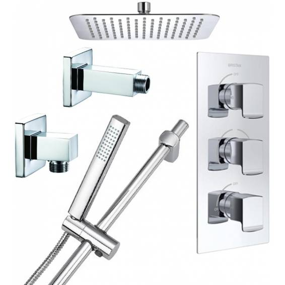 Bristan Descent Thermostatic Recessed Shower Pack with Fixed & Adjustable Heads
