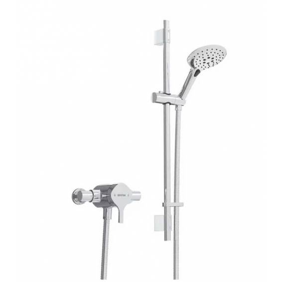 Bristan Flute Thermostatic Exposed Single Control Shower with Adjustable Riser Kit