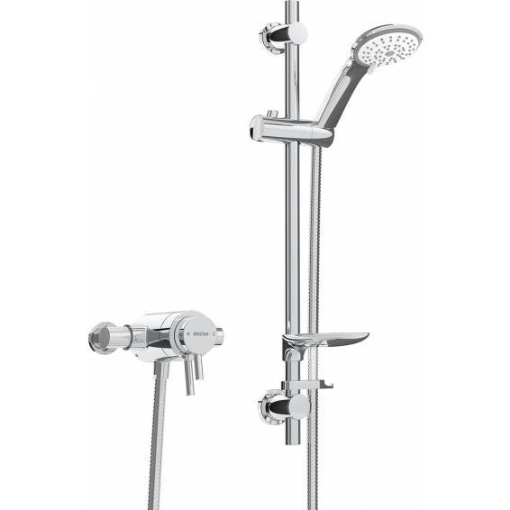 Bristan Prism Thermostatic Exposed Dual Control Shower with Adjustable Riser Kit