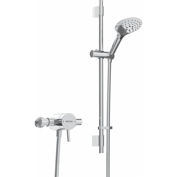 Bristan Prism Thermostatic Exposed Single Control Shower with Adjustable Riser Kit