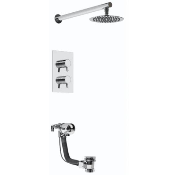 Bristan Prism Thermostatic Recessed Shower Pack with Fixed Head & Bath Filler