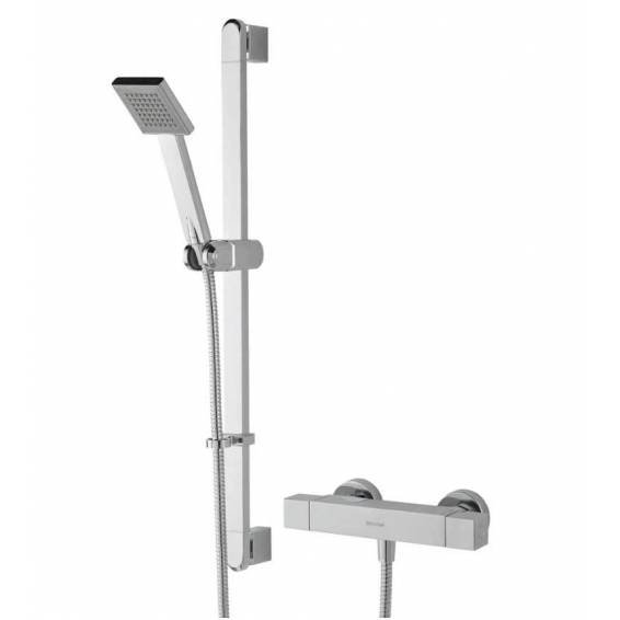 Bristan Quadrato Thermostatic Exposed Bar Shower with Adjustable Riser Kit