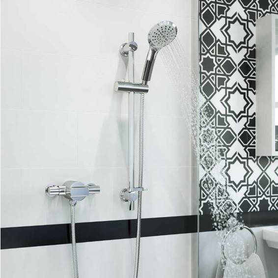 Bristan Quest Thermostatic Exposed Single Control Shower with Adjustable Riser Kit