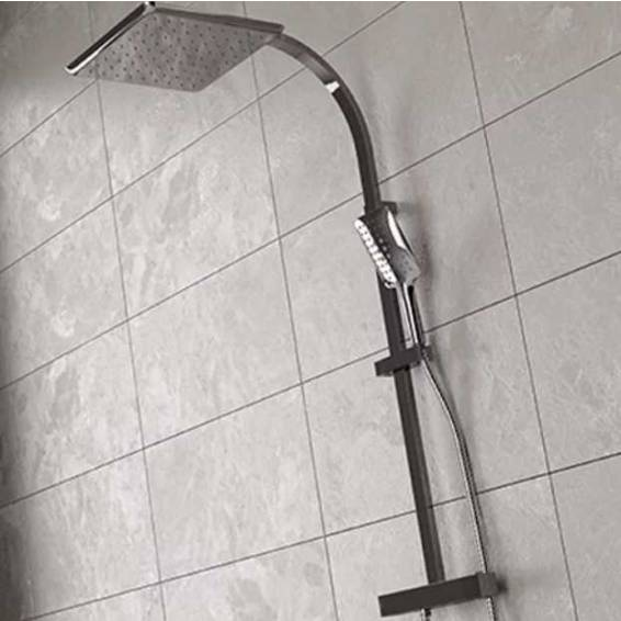 Bristan Vertico Thermostatic Rigid Riser Diverter Shower with Fixed & Adjustable Heads