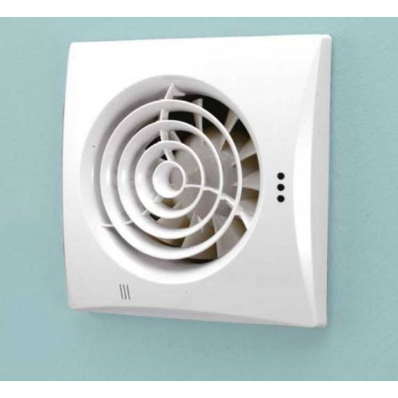 HIB Hush White Wall Mounted Fan with Timer & Humidity