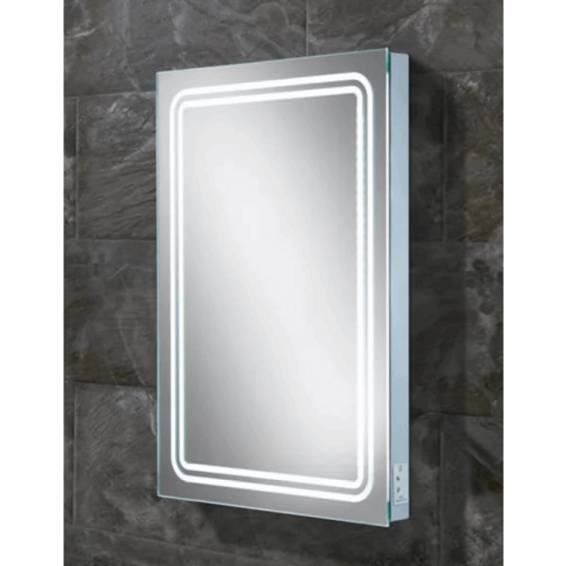 HIB Rotary Steam Free LED Mirror with Charging Socket 700 x 500mm