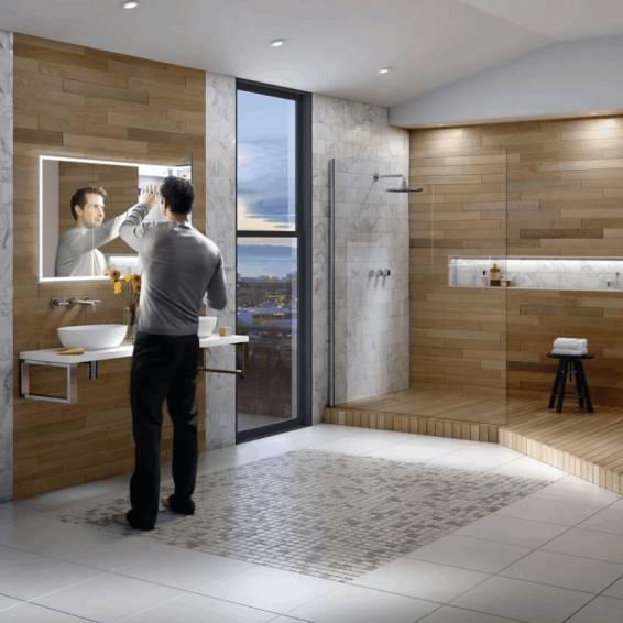 HIB Vanquish 120 LED Demisting Recessed Aluminium Bathroom Cabinet 1230 x 730mm