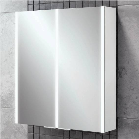 HiB Xenon 60 LED Aluminium Bathroom Cabinet with Mirrored Sides 605 x 700mm