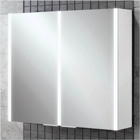 HiB Xenon 80 LED Aluminium Bathroom Cabinet with Mirrored Sides 820 x 700mm