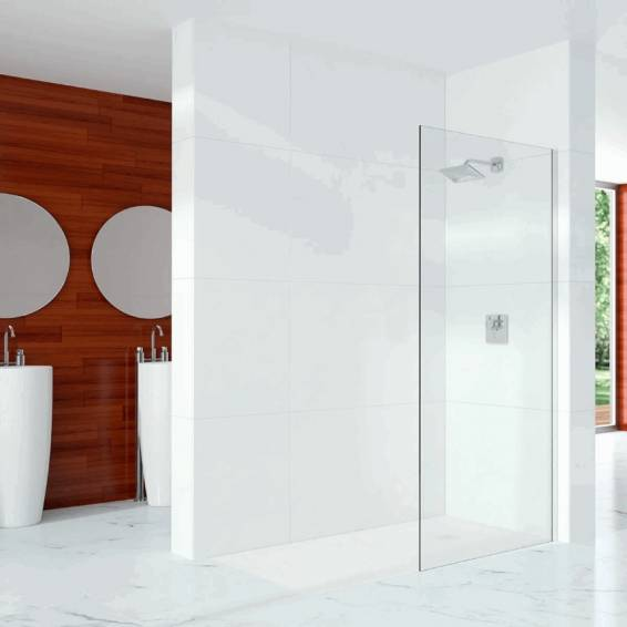 Merlyn 10 Series 10mm Glass Wetroom Panel with Wall profile 300mm