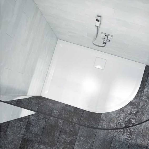 Merlyn 8 Series 8mm Curved Showerwall Glass Panel with Wall profile 900mm & 900 x 900mm Tray