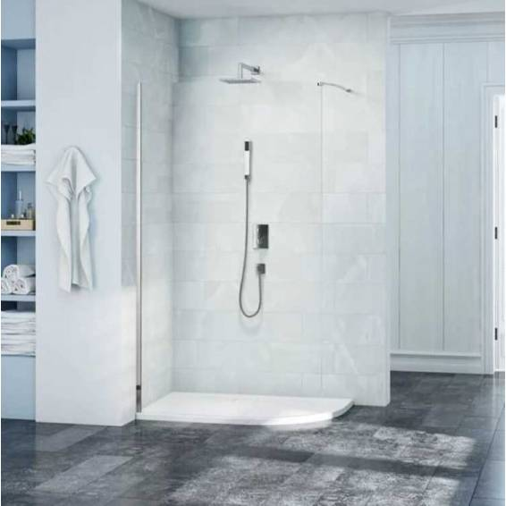 Merlyn 8 Series 8mm Curved Showerwall Glass Panel with Wall profile 1000mm
