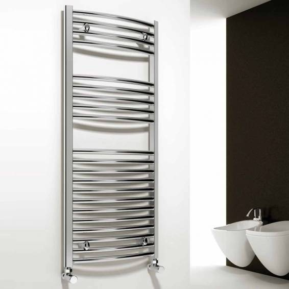 Reina Diva Curved Heated Towel Rail 1000 x 600mm Chrome