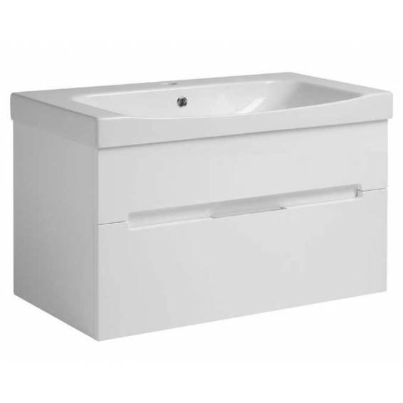 Roper Rhodes Diverge 800mm Wall Mounted Unit with Ceramic Basin Gloss White