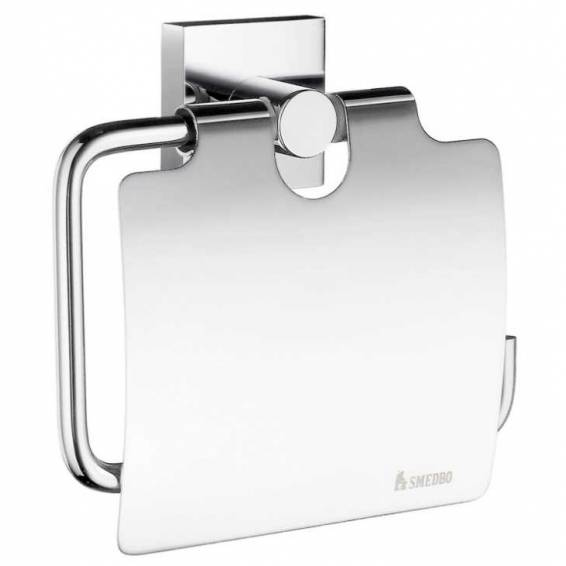 Smedbo House Toilet Roll Holder with Cover Polished Chrome