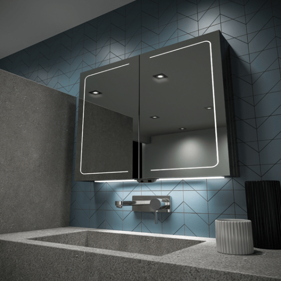 HIB Vapor 80 LED Demisting Aluminium Bathroom Cabinet 800 x 700mm