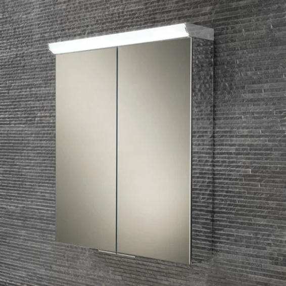 HIB Flare LED Aluminium Bathroom Cabinet with Mirrored Sides 600 x 700mm