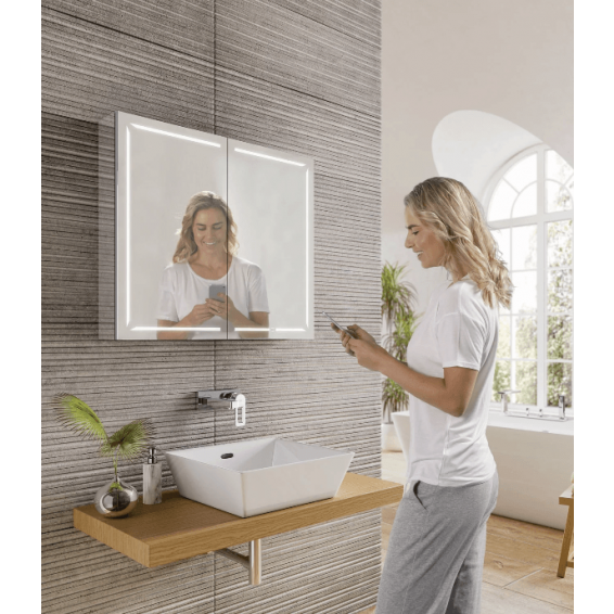 HIB Groove 80 LED Demisting Bluetooth Bathroom Cabinet 800 x 700mm